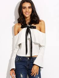 white bell sleeve blouse white cold shoulder bow tie ruffle bell sleeve blouse shein