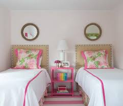 Pink Girls Bedroom Pink Bedroom With Pink Plaid Rug Transitional U0027s Room