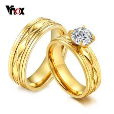 engagement rings for couples vnox cz engagement rings for couples gold color