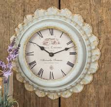 french country cottage chic grey metal wall clock villas
