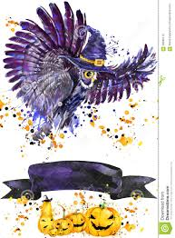 owl halloween background halloween owl and witch hat watercolor illustration background