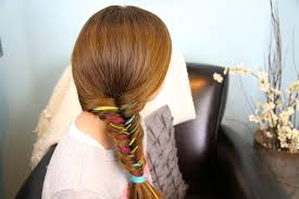 hair style with color yarn yarn extension fishtail braid temporary color highlights cute