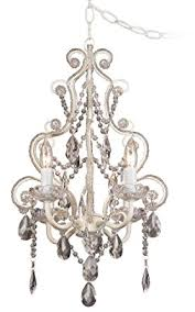 Non Hardwired Chandelier Leila 11 Quot Wide White Finish Beaded In Swag