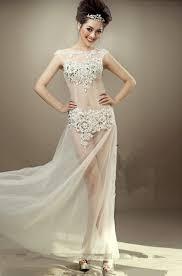 long whitetulle see through women exotic dress cap sleeves beaded