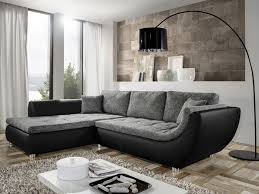 wohnzimmer wohnlandschaft avery 287x196cm webstoff anthrazit kunstleder schwarz