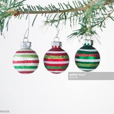 studio of striped ornaments hanging on