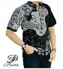 gambar model baju batik modern gambar model baju batik modern lengan pendek warna hitam untuk pria