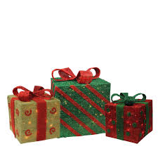 Brylane Home Christmas Decorations Set Of 3 Outdoor Lighted Christmas Presents