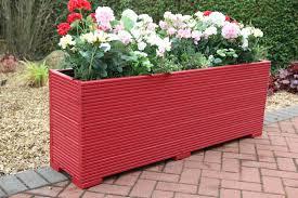wooden garden planter trough painted in valspar red 140cm long decking