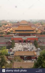 dusty china aerial view on forbidden city seen from jingshan park in dusty