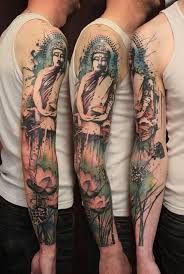 full sleeve cool grey ink medicine buddha sit on lotus tattoo for