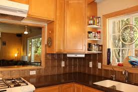 Tin Backsplash For Kitchen by Kitchen Backsplash Ideas For Black Cabis And Blue Storm Formica