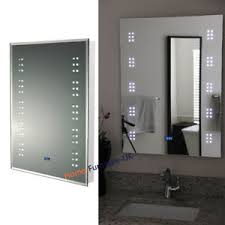 Bathroom Mirror With Clock Wall Mounted Ir Sensor Illuminated Led Bathroom Makeup Mirror