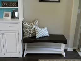coolest white wooden entryway bench with beautiful cushions design