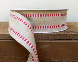 burlap wired ribbon wired ribbon 1 1 2 wide white check stripe cotton burlap
