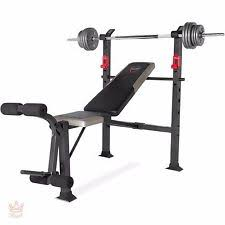 Weights And Bench Set Cap Strength Deluxe Standard Bench With 100 Lb Weight Set Ebay