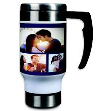 Travel Mug Stainless Steel Photo Collage Travel Mug 14oz Custom Color