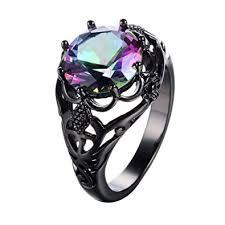 black gold engagement ring junxin cut black gold mystic big rainbow topaz