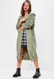 khaki ruched sleeve longline parka coat missguided ireland