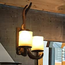 Antler Wall Sconce Country Style 2 Light Restaurant Wall Sconces Lighting
