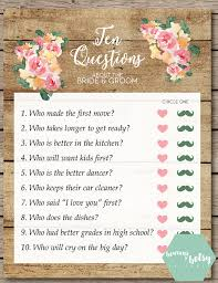 rustic watercolor floral and wood ten questions bridal shower