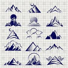mountain icons set with clouds sun and moon on notebook