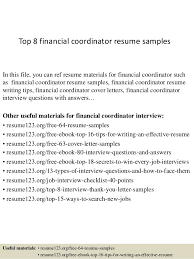 Resume Examples Finance by Top 8 Financial Coordinator Resume Samples 1 638 Jpg Cb U003d1428658372