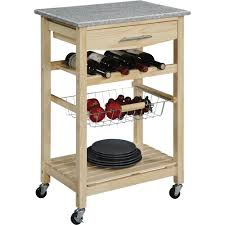 rolling kitchen island cart with granite top u2014 natural finish