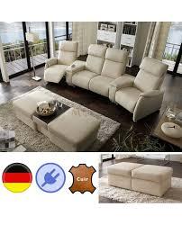 home canapé canapé home cinéma cuir écru 4 places relax pouf modulable