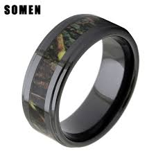 camo mens wedding bands aliexpress buy 8mm men s black ceramic wood inlay wedding