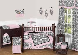 black white u0026 pink damask print baby crib bedding 9pc