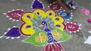 peacock rangoli art with colorful design muggulu for sankranti