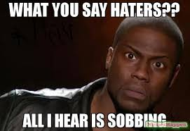Haters Meme - what you say haters all i hear is sobbing meme kevin hart the