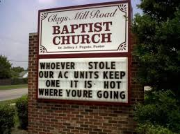 Church Sign Meme - whoever stole our a c funny church signs know your meme