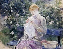 the monet family in their garden at argenteuil pasie sewing in bougival u0027s garden 1881 berthe morisot wikiart org