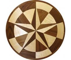 hardwood floor medallions inlays compass