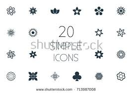 vector illustration set simple flower icons stock vector 721069945