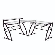 L Shaped Glass Desks Z Line Belaire Glass L Shaped Desk Zl1441 1du