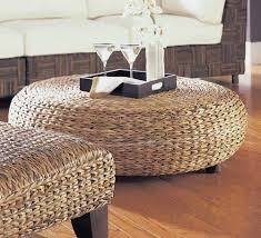 oversized round abaca weave wicker ottoman maybe home