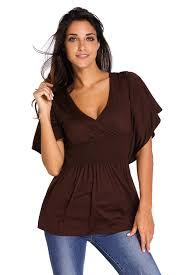 elastic waist blouse chic brown v neck batwing sleeve high elastic waist blouse