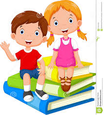 child sitting clipart children sitting on a pile of books stock illustration image