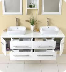 Fresca Bellezza FVNWH White Modern Double Vessel Sink - Bathroom vanity cabinet for vessel sink
