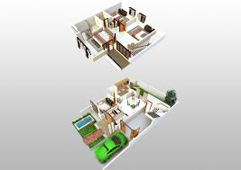 2 Storey House Floor Plan With Perspective Two Design Terrace The 2 Story House Plan 3d