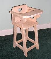 Wooden Doll High Chair Child Furniture Doll Wooden Furniture Wood Doll Furniture