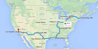 Road Trip Map From Boston To La Moore Fam Road Trip T C Moore