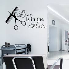 hair u0026 beauty salon wall art sticker love is in the hair vinyl