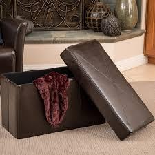 Folding Storage Ottoman Nottingham Brown Bonded Leather Folding Storage Ottoman By