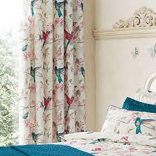 Teal Bird Curtains Teal Tropical Birds Thermal Eyelet Curtains Dunelm Shower