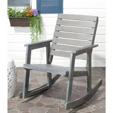 Patio Rocking Chairs Wood Safavieh Alexei Ash Gray Acacia Wood Patio Rocking Chair Fox6702a