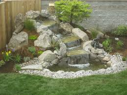 Landscaping Ideas For Sloped Backyard Small Waterfall Sloped Backyard Landscaping Ideas Chocoaddicts